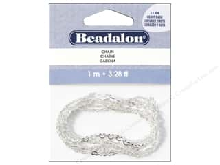 jewelry chains: Beadalon Chain 3.1 mm Heart Dash Silver Plated 1M