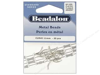Metal Beading & Jewelry Making Supplies: Beadalon Metal Beads 1.2 x 11.5 mm Curve Silver Plated 20 pc.