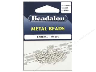 Metal Beading & Jewelry Making Supplies: Beadalon Metal Beads 2.5 mm Barbell Silver Plated 30 pc.