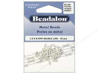 Metal Beading & Jewelry Making Supplies: Beadalon Metal Beads 1.5 x 6.5 mm Double Line Silver Plated 30 pc.