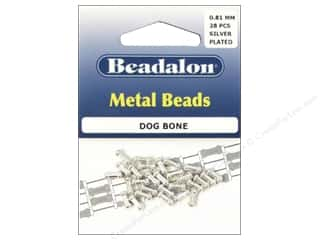 Beads $3 - $4: Beadalon Metal Beads 3 x 7 mm Dog Bone Silver Plated 28 pc.