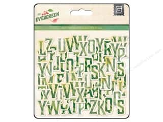 BasicGrey Chipboard Alphabet Stickers Evergreen