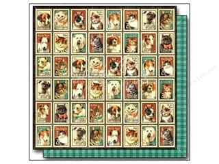 "Weekly Specials Brown: Graphic 45 Raining Cats & Dogs Paper 12""x 12"" Mr. Whiskers (25 pieces)"