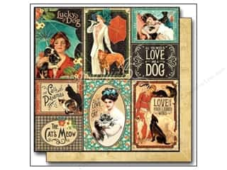 "Weekly Specials Papers: Graphic 45 Raining Cats & Dogs Paper 12""x 12"" Well Bred (25 pieces)"