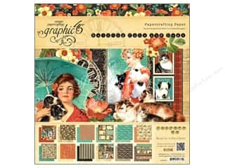 "Everything You Love Sale Graphic 45 Paper Pad: Graphic 45 Raining Cats & Dogs Paper Pad 12""x 12"""