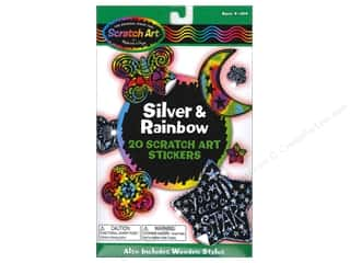Kids Crafts paper dimensions: Melissa & Doug Scratch Art Stickers Silver & Rainbow
