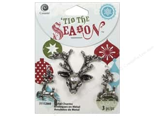 Cousin Season Christmas Charm Metal Deer Silver
