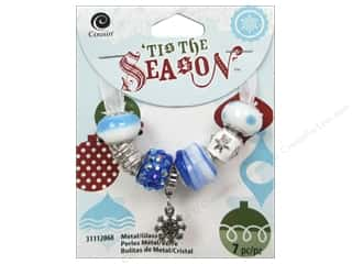 Cousin Season Christmas Bead Snowflake Blue/White