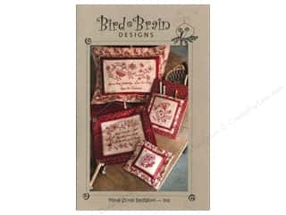"Bird Brain Design 4"": Bird Brain Designs Floral Scroll Redwork Pattern"