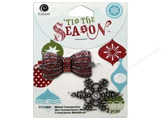 Yesterday's Charm $7 - $15: Cousin Tis The Season Christmas 2014 Connector Metal Bow/Snowflake Silver