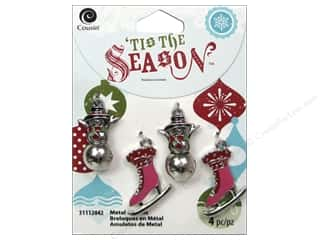 Charms Christmas: Cousin Tis The Season Christmas 2014 Charm Metal Snowman/Skates Silver
