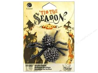Halloween Beading & Jewelry Making Supplies: Cousin Tis The Season Halloween 2014 Charm Bead Spider Grey