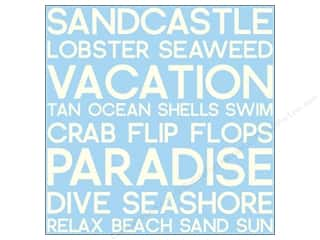 Canvas Corp 12 x 12 in. Paper Blue & Ivory Beach Word Reverse (15 piece)