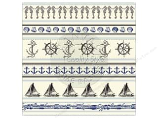 Glitz Design Beach & Nautical: Canvas Corp 12 x 12 in. Paper Nautical Stripe On Ivory (15 pieces)