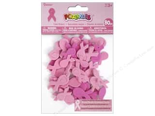 Craft Embellishments $50 - $80: Darice Foamies Sticker Pink Ribbon Assorted 80pc