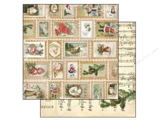 Christmas Burgundy: Bo Bunny 12 x 12 in. Paper Christmas Collage Stamps (25 pieces)
