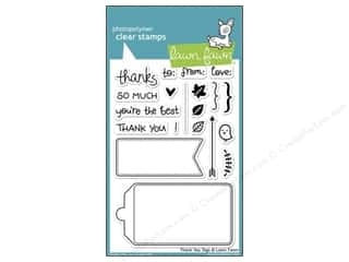 Straight Stitch Rubber Stamping: Lawn Fawn Clear Stamp Thank You Tags