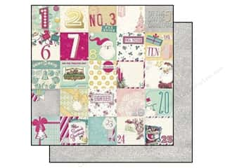 Christmas ABC & 123: Bo Bunny 12 x 12 in. Paper Candy Cane Lane Countdown (25 pieces)