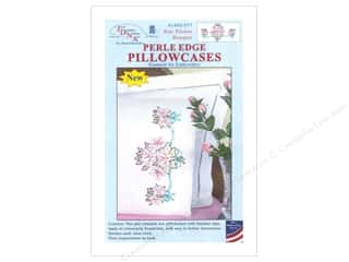 Jack Dempsey Jack Dempsey Pillowcase Perle Edge White: Jack Dempsey Pillowcase Perle Edge White Star Flower Bouquet