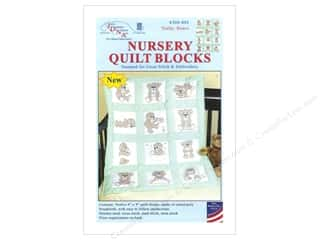 Jack Dempsey Stamped Quilt Blocks: Jack Dempsey Nursery Quilt Block 12pc Teddy Bears