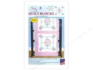 "Stamped Goods Stamped Quilt Tops: Jack Dempsey Quilt Block 18"" 6pc White Star Flower Bouquet"