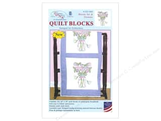 "Stamped Goods Stamped Quilt Tops: Jack Dempsey Quilt Block 18"" 6pc White Mason Jar/Flower"