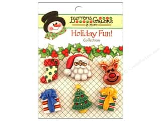 Stock Up Sale Glue Dots: Buttons Galore Holiday Fun Buttons 6 pc. Here Comes Santa