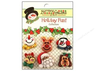 Cutters Brown: Buttons Galore Holiday Fun Buttons 6 pc. Santa & Friends