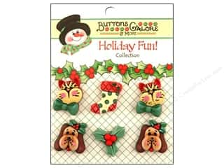 Pets Brown: Buttons Galore Holiday Fun Buttons 6 pc. Holiday Pets
