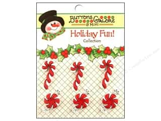Buttons Galore Holiday Fun Buttons 6 pc. Peppermint Twist