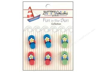 Beach & Nautical Sewing & Quilting: Buttons Galore Fun In The Sun Buttons 6 pc. Flip Flops
