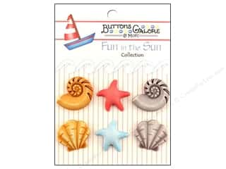 Beach & Nautical Buttons: Buttons Galore Fun In The Sun Buttons 6 pc. Beachcomber