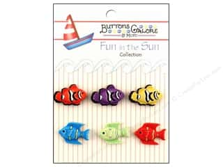 Beach & Nautical Buttons: Buttons Galore Fun In The Sun Buttons 6 pc. Exotic Fish