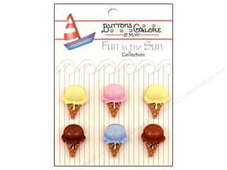 Cutters Brown: Buttons Galore Fun In The Sun Buttons 6 pc. Ice Cream Cones
