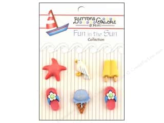Beach & Nautical Sewing & Quilting: Buttons Galore Fun In The Sun Buttons 6 pc. Life's A Beach