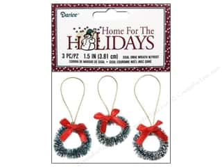 Ornaments $1 - $2: Darice Sisal Wreath 1 1/2 in. with Frost & Bow 3 pc.