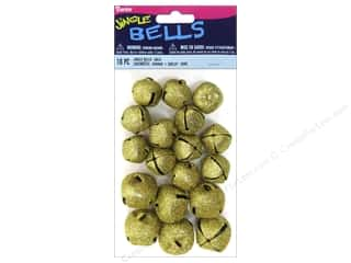Darice Jingle Bells Assorted Size Glitter Gold 18 pc.