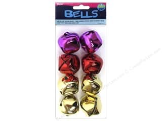 Think Pink: Darice Jingle Bells 1 3/8 in. Gold Red Pink 8 pc.