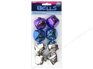 Clearance Basic Components: Darice Jingle Bells 1 3/8 in. Silver Purple Blue 8 pc.