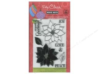 Clearance Art Impressions Rubber Stamp: Hero Arts Poly Clear Stamps Peace Poinsettias