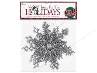 "Plastic Shapes: Darice Decor Holiday Snowflake 6.5"" Glitter Silver 6pc"