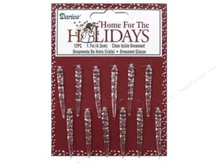 "Christmas Clear: Darice Decor Holiday Ornament Icicle 1.7"" Clear 12pc"