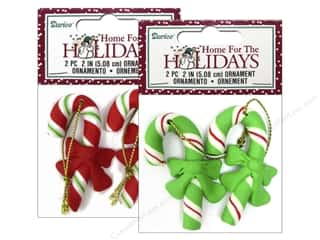 "Darice Clearance Crafts: Darice Decor Holiday Ornament 2"" Candy Cane Assorted 2pc"