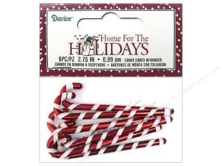 Darice Decor Holiday Ornament Candy Cane 6pc