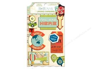 Captions Chipboard: Bo Bunny Layered Chipboard Stickers Souvenir