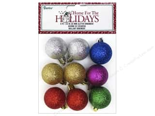 Ornaments: Darice Decor Holiday Ornament 30mm Glitter Multi 9pc
