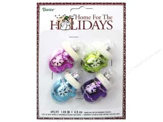 Glass Christmas: Darice Decor Holiday Ornament Snowflake Mitten Bright 4pc