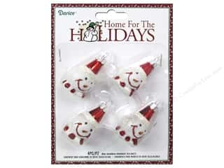 Darice Decor Holiday Ornmt Mini Snowman Red/Wht4pc