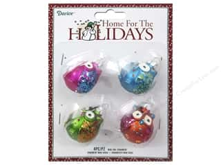 Darice Decor Holiday Ornmt Mini Owl Brights 4pc