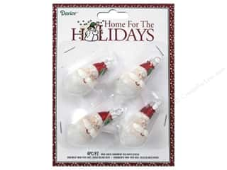 Darice Decor Holiday Ornmt Mini Santa R/Wht/Grn4pc
